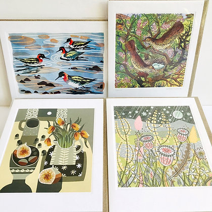 Linocut Printmakers Card Collection - 4 Designs by Art Angels