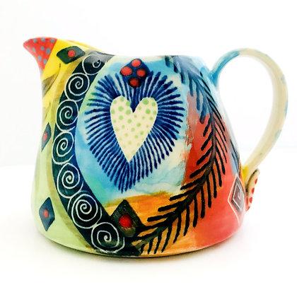 Pru Green Pottery Jug - Colourful Bright Small Can Jug