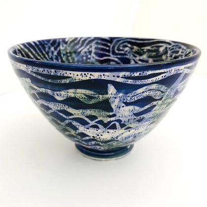 Pru Green - Blue and White Deep Decorated Batik Bowl