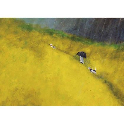 Walking in the Rain - Mary Carlson - Fine Art Greetings Card