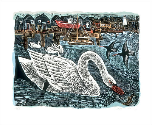Angela Harding - Southwold Swan - Printmakers Card by Art Angels