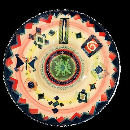 Pru Green Handmade Pottery - Large Colourful Deep Bowl