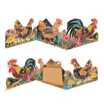 Mark Hearld - Die Cut Fold Out Card - Menagerie Chickens