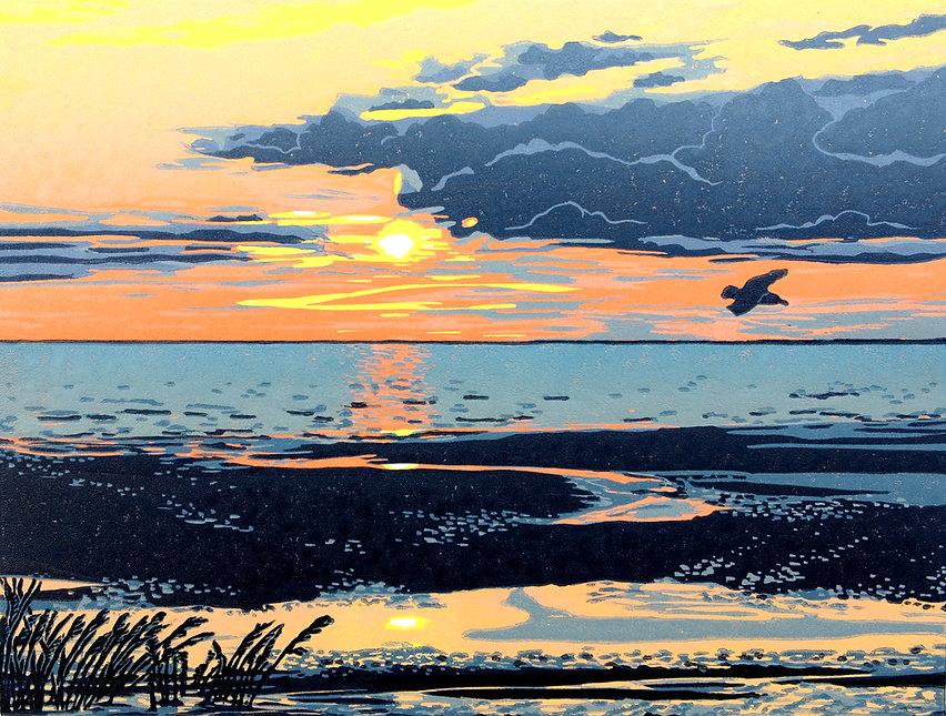 Nina Sage-Printmaker-Church Street Gallery-Sunset on the Shoreline.JPG