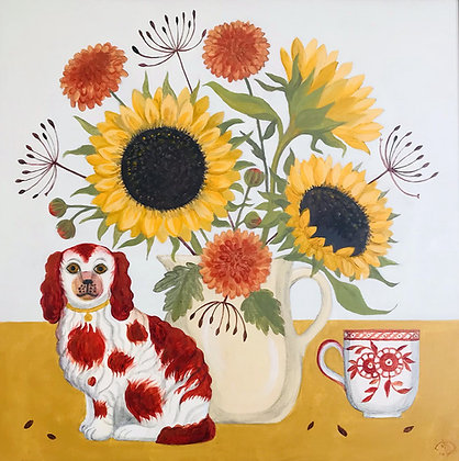 Catriona Hall - Still Life - Dog Dahlias and Sunflowers - Original Painting