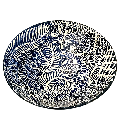 Pru Green - Blue and White - Large Decorated Bowl
