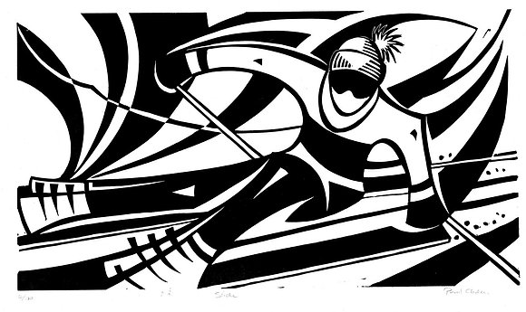 Downhill Skiing Monochrome Linocut by Paul Cleden at Church Street Gallery