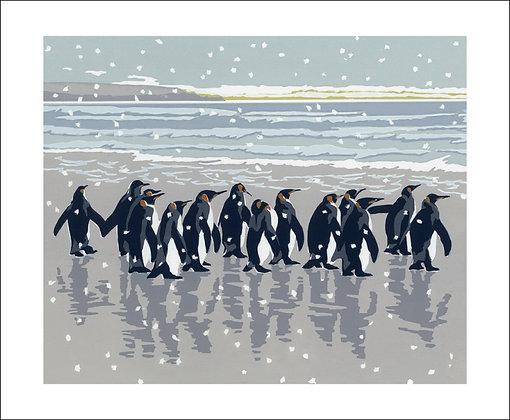 Snowy Beach Kings - Penguins by Lizzie Perkins Winter Printmakers