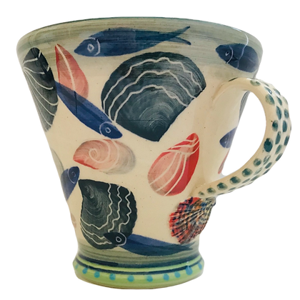 Pru Green Pottery - Wheel Thrown Mug Decorated in Shell and Fish Design