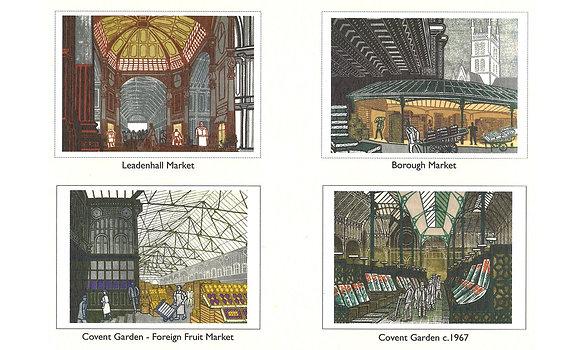 Bawden-London Markets-Linocuts-Postcard Book-Buy on line