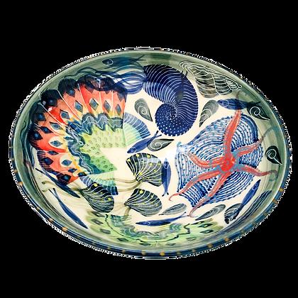 Pru Green Pottery - Bowl Shell and Mollusc Pattern - Medium