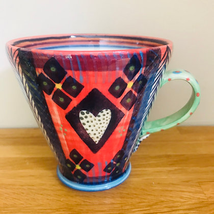 Pru Green Mug - Large Bright and Colourful Design