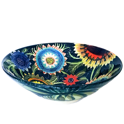 Large Ceramic Bowl by Pru Green -  Colourful Floral Design