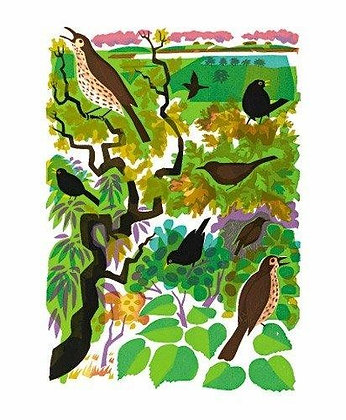 Carry Akroyd - Song Thrush and Blackbirds- Art Angels Cards