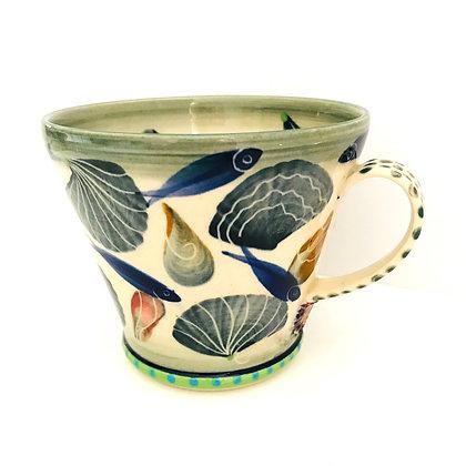 Pru Green - Large Mug Shell and Fish Design