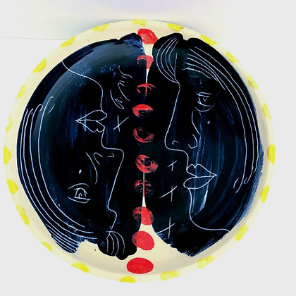 Simon Sharp - Pottery - Large Plate Bright and Dramatic Face Design