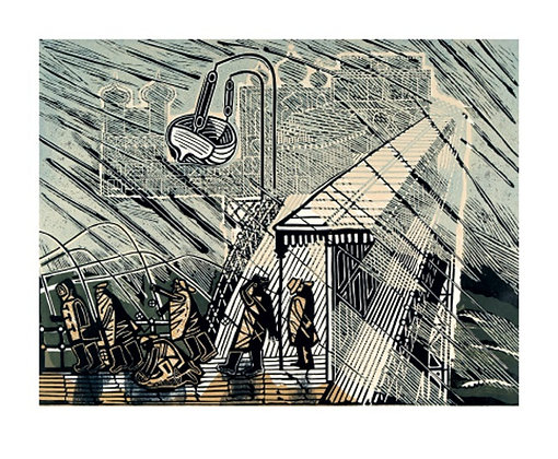 Edward Bawden - Snowstorm at Brighton -Art Angels Printmakers Cards