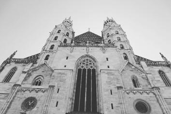 The Stephansdom Vienna, black and white