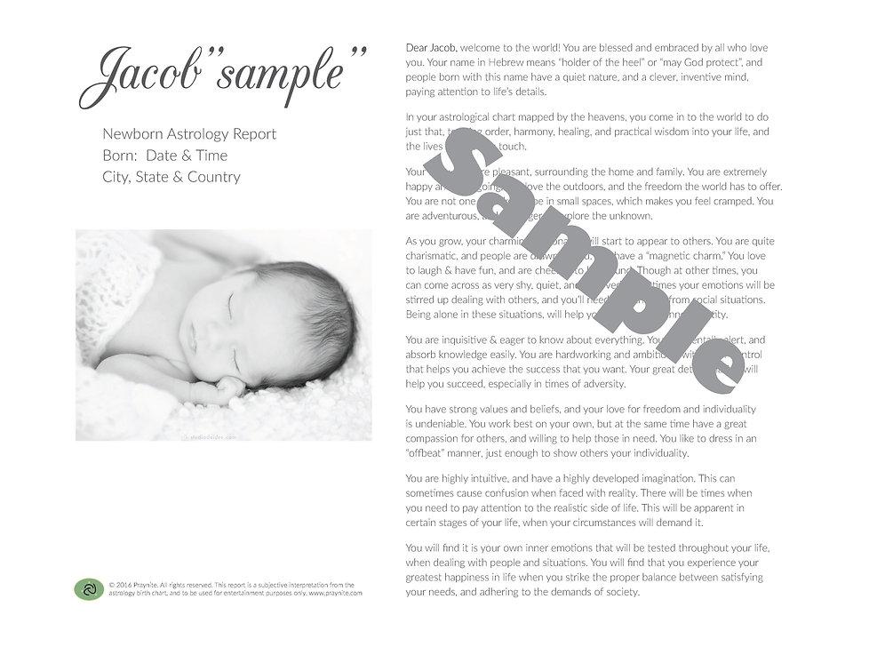 Newborn Astrology Report - Black Frame (with black matting)