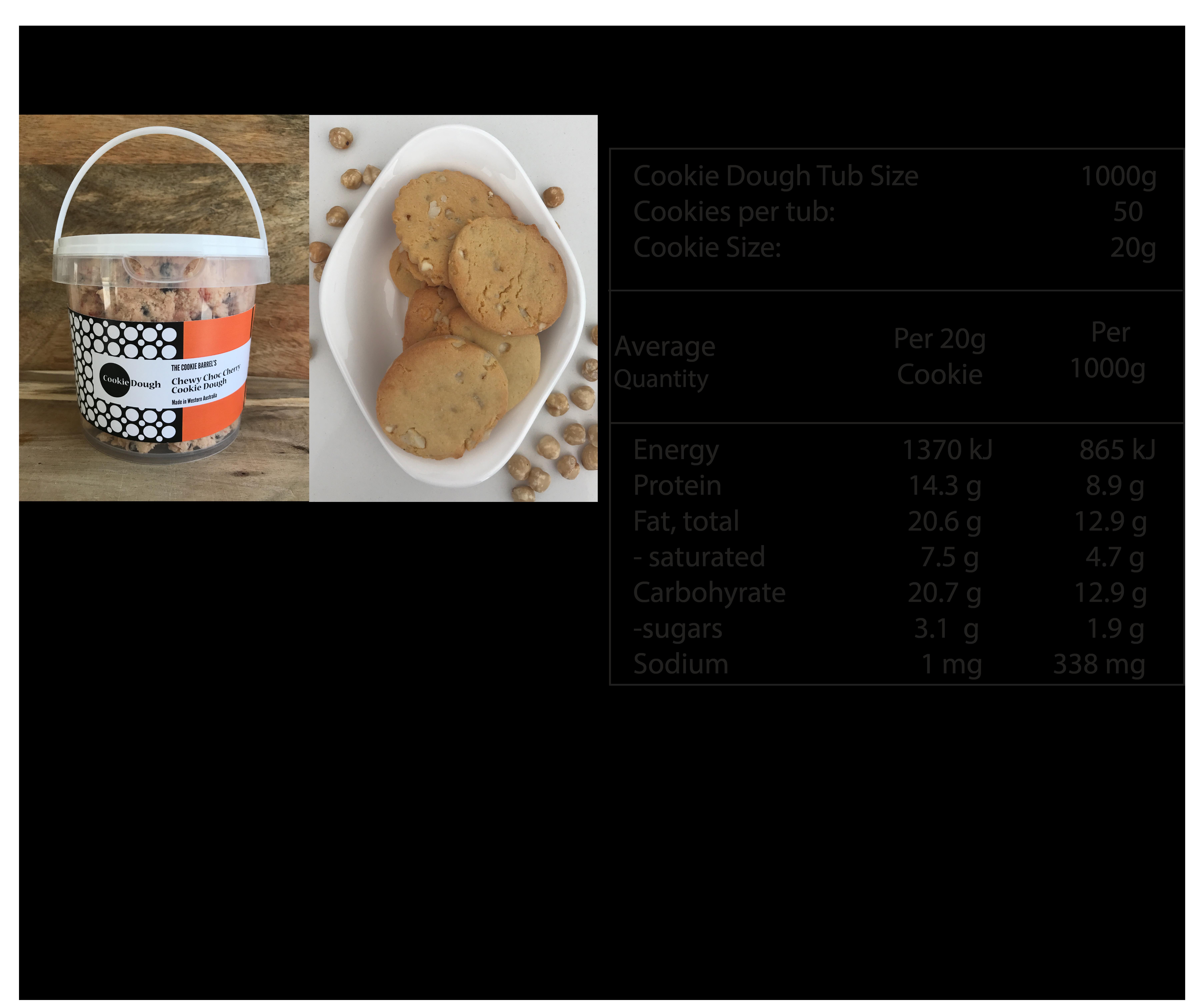 Macadamia & White Choc GF Nutritional Info