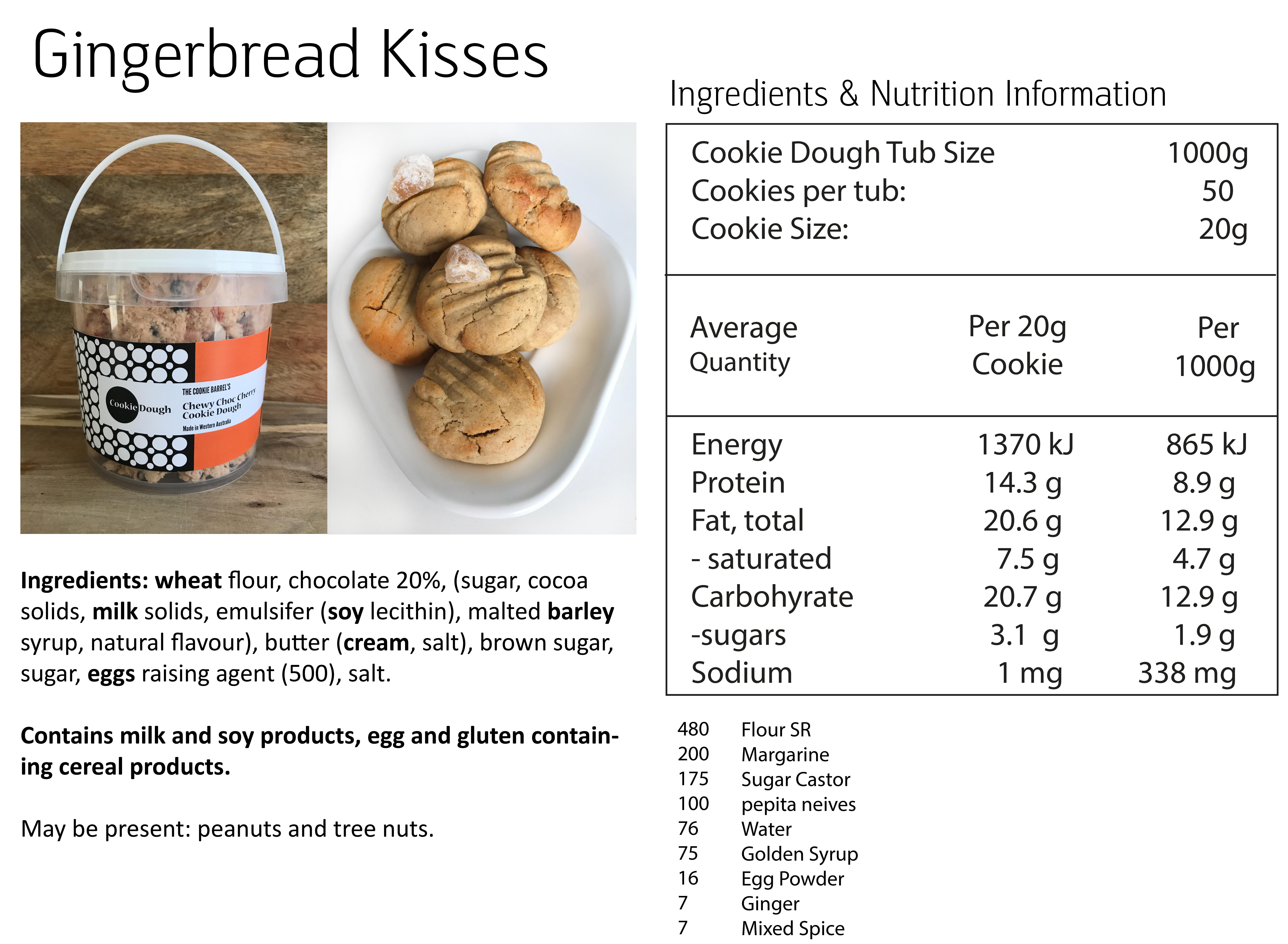 Gingerbread Kisses Nutritional Info