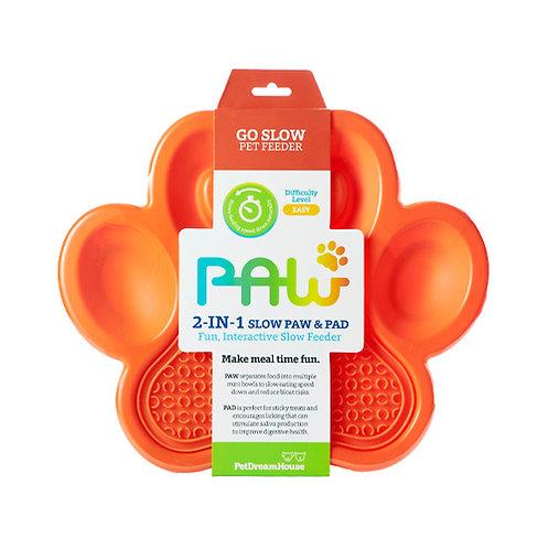 PAW 2-in-1 Slow Feeder Bowl & Lick Pad Combo - Orange