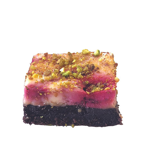 Raspberry & Pistachio Brownie Cheesecake Slice - pack of 12