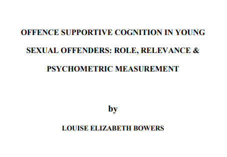 Offence supportive cognition in young sexual offenders: role, relevance & psychometric measurement