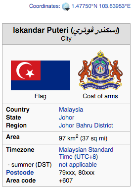 Wikipedia entry for Iskandar Puteri