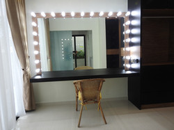 Master bedroom hollywood mirror