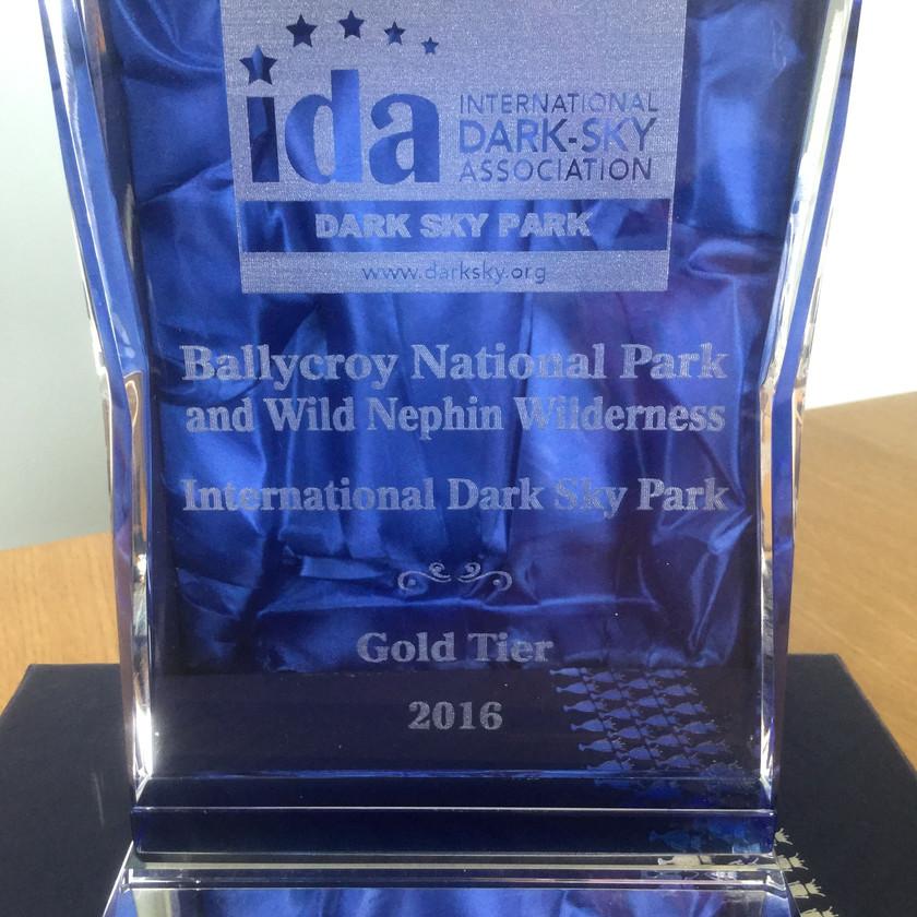 Gold Tier Dark Sky Park Award received May 2016