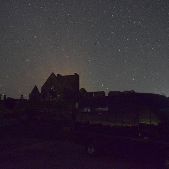Burrishoole abbey by night