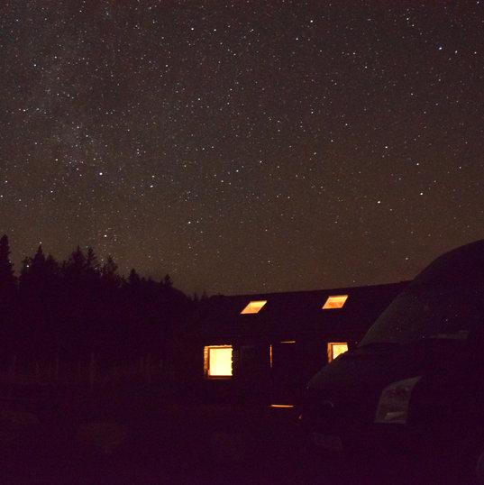 Wilderness Bothy at night