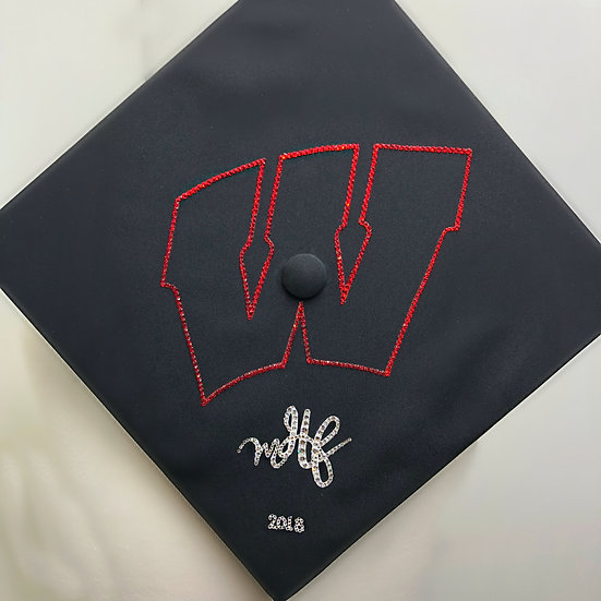 "Custom Grad Cap with outline ""W"", monogram & Year"