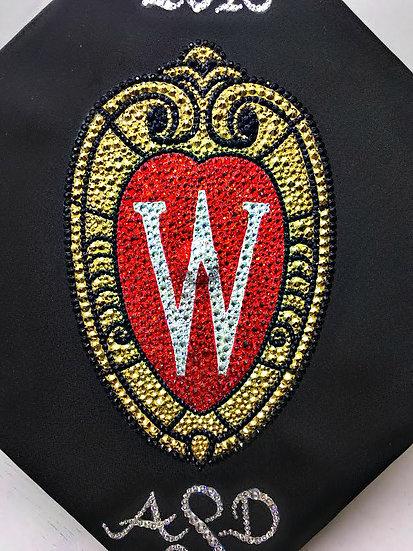 UW Madison Crest Grad Cap w/year & monogram