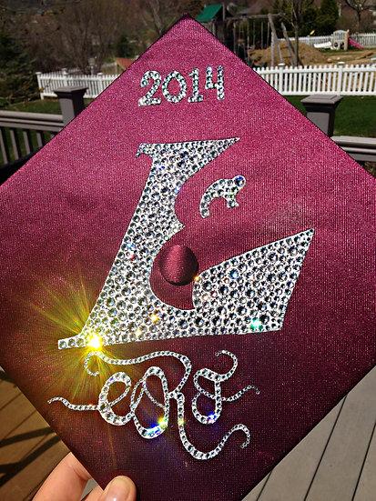 Custom Graduation Cap - Solid Fill with Monogram