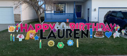 Lawn display for birthday Calgary