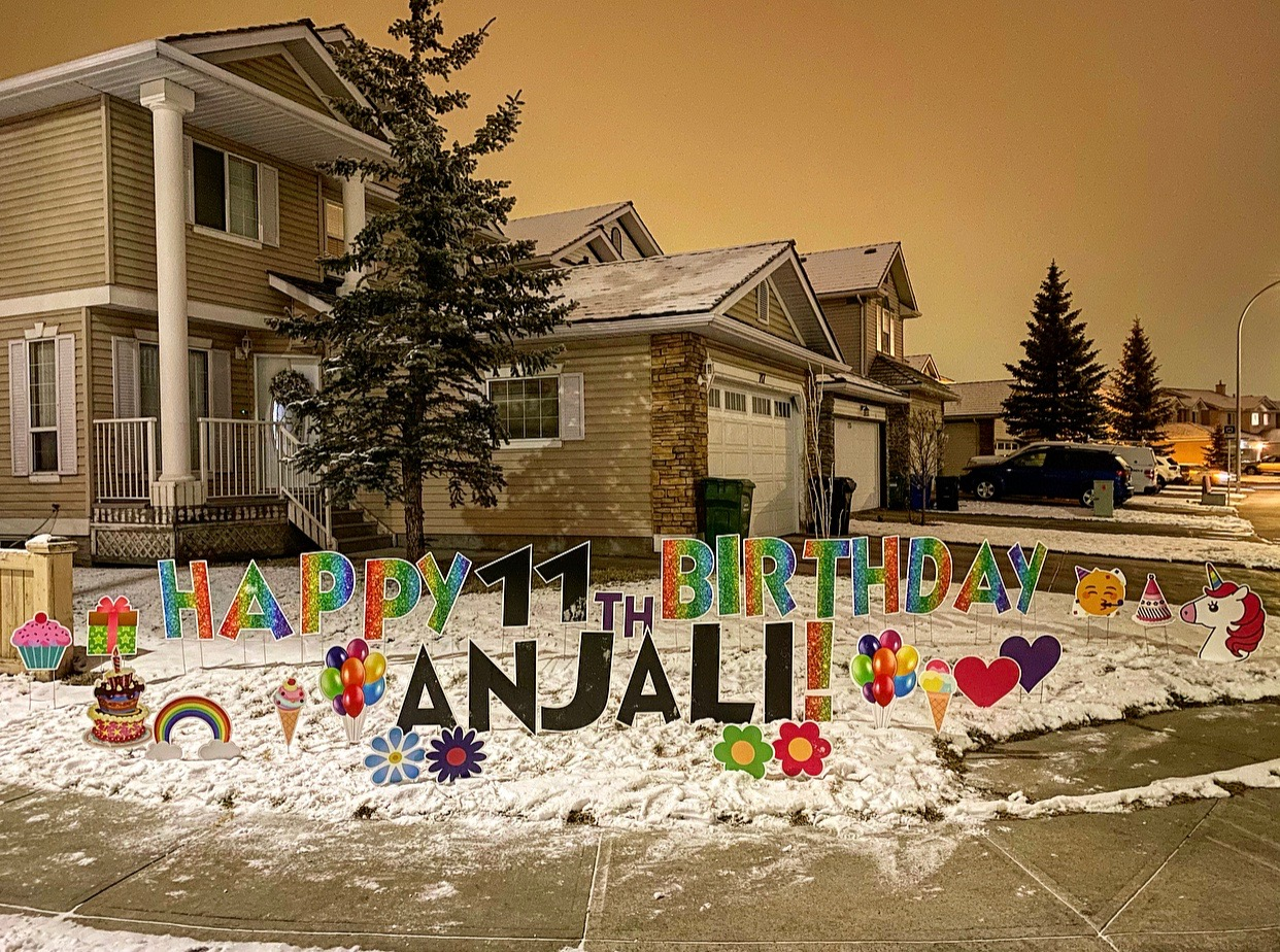 Covid Birthday Lawn Card Greeting Calgary