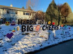 Lawn greeting Calgary with Big Head