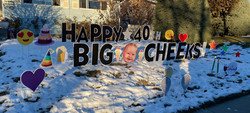 Happy Birthday with Big Head Yard sign Calgary