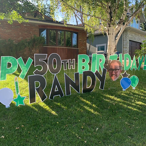 Big Head Birthday Lawn Greeting Rental Calgary