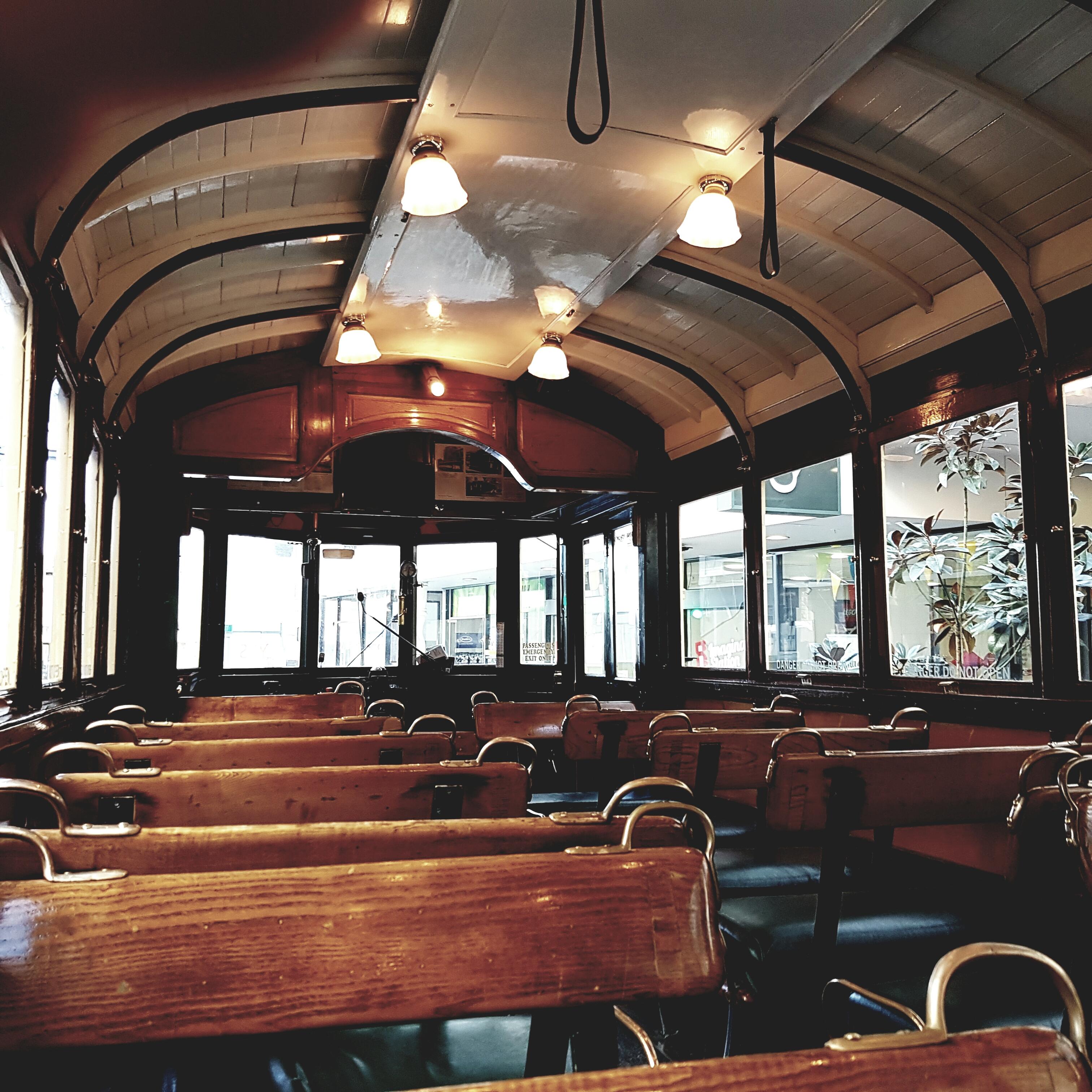 wood tram interior