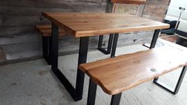 Wiggly Edge Bench and Table set