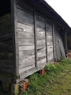 Silvery weathered barn sidings