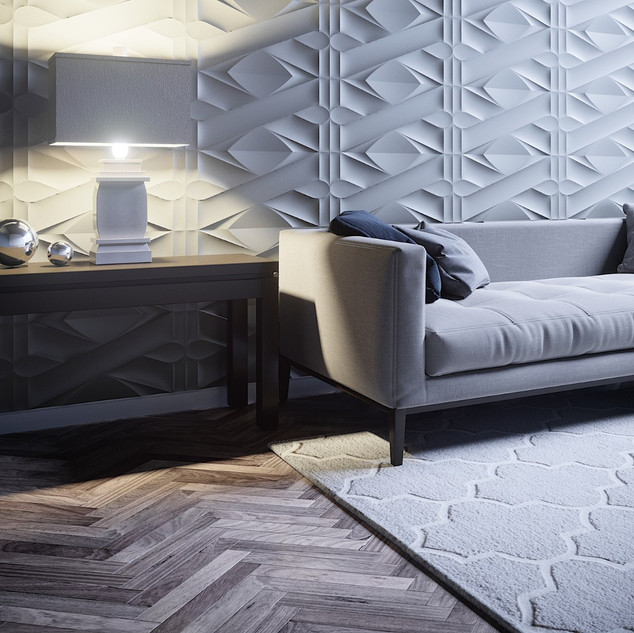 Silver Chevron Parquet flooring