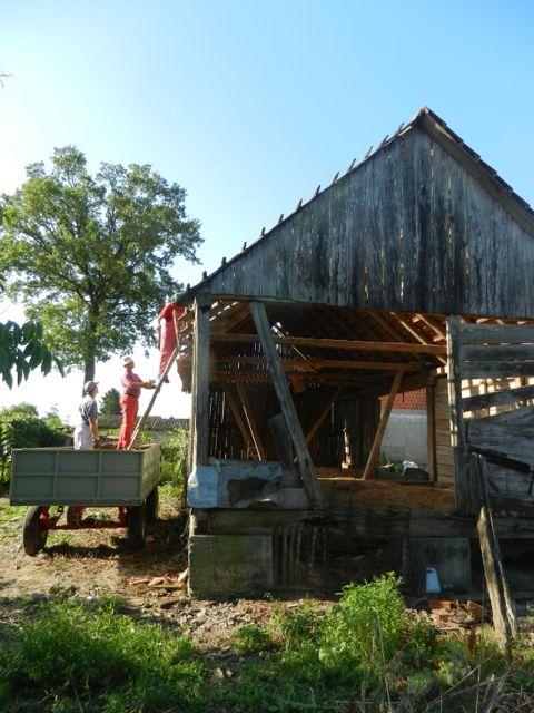 Barn in demolition process