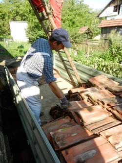 Tiles stored in trailer