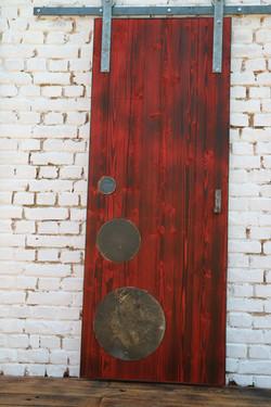 Red Fired Pine Barn Sliding Door