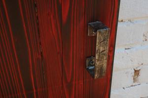 Red Burnt Pine Sliding Barn Door