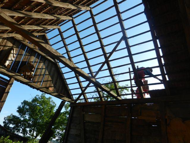 Barn roof blue skies
